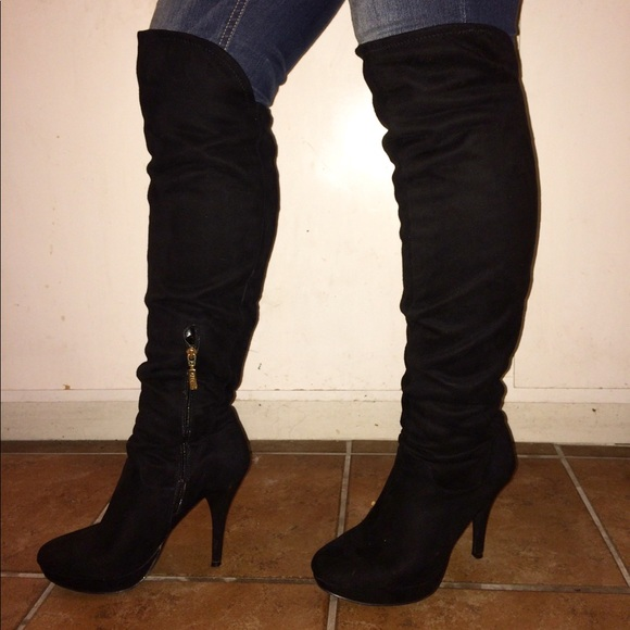 54d5614de2d GUESS Suede Over The Knee Boots